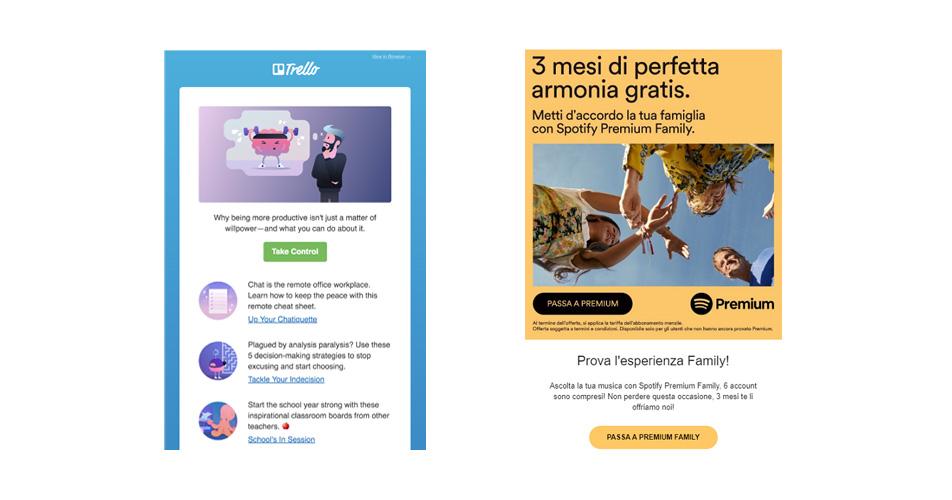 Due esempi di newsletter e DEM: la newsletter di Trello e la DEM di Spotify.