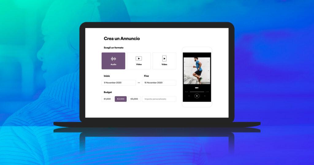 Una preview della creazione di un annuncio su Spotify Ad Studio